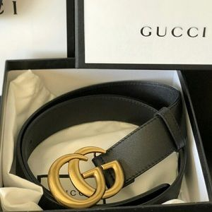 New Gucci GG Gold Double G Belt With Tags